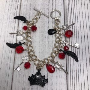 Jewelry - Red and Black Crown Charm Bracelet
